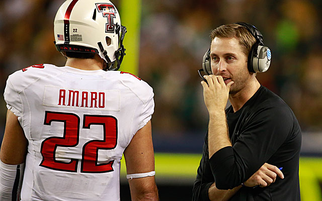 Former Texas Tech tight end Jace Amaro and his coach Kliff Kingsbury are represented by the same agent. (USATSI)
