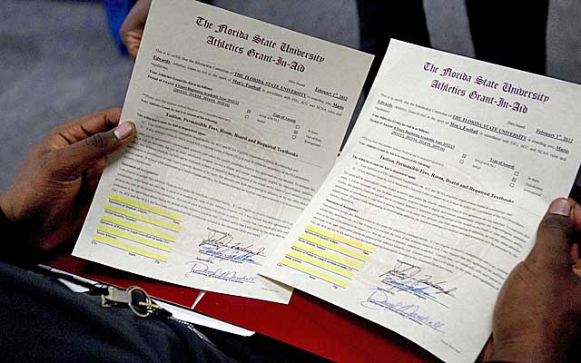 By signing a National Letter of Intent, recruits enter into a one-sided pact with a school.   (USATSI)