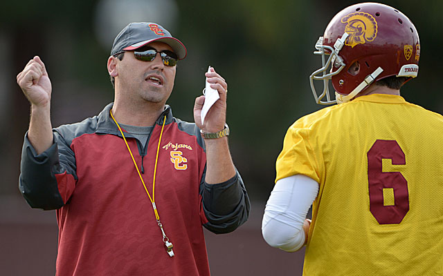 USC coach Steve Sarkisian works with QB Cody Kessler in spring practice. (USATSI)