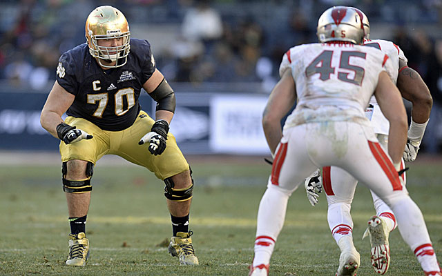 Former Notre Dame guard Zack Martin projects as a first-round draft pick. (USATSI)