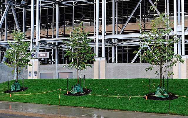 Penn State removed all traces of a Joe Paterno statue on this site outside Beaver Stadium. (USATSI)