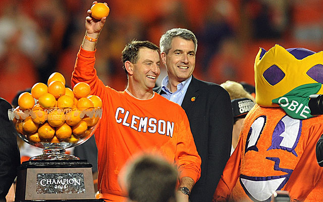 Dabo Swinney is getting some mileage out of Clemson's win over Ohio State. (USATSI)