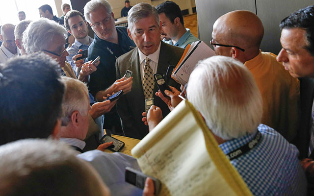 Bob Bowlsby took the NCAA to task, and Dennis Dodd (he of the shiny dome) was there. (USATSI)