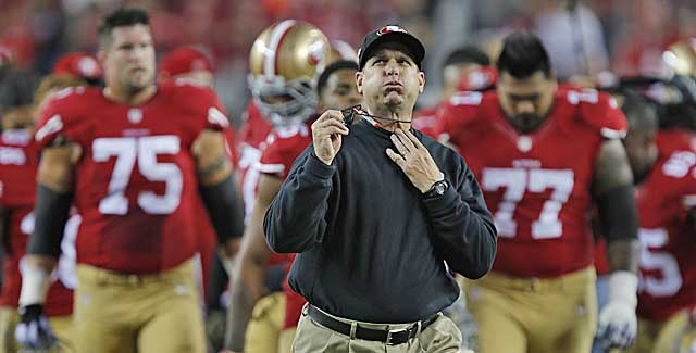 Niners coach Jim Harbaugh would bring winning experience and a Michigan pedigree. (Getty Images)