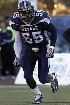 Over the past two seasons, Nevada's OLB Dontay Moch has 35 tackles for a loss and 18 sacks. (US Presswire)