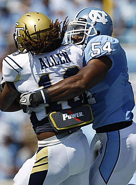 Carter puts the clamps on Georgia Tech running back Anthony Allen. (US Presswire)
