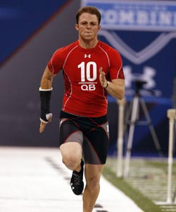 Former Alabama QB Greg McElroy ran a  4.84 40 at the combine. (US Presswire)