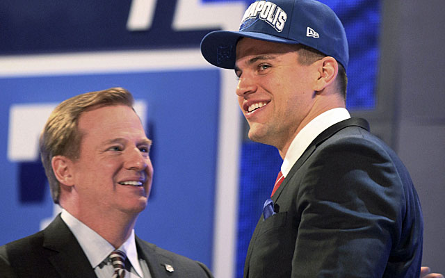 Coby Fleener joins his Stanford teammate Andrew Luck in Indianapolis as the No. 34 pick. (AP)