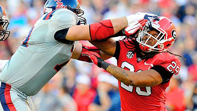 Geogia OLB Jarvis Jones is an impact player when he's on the field. (US Presswire)