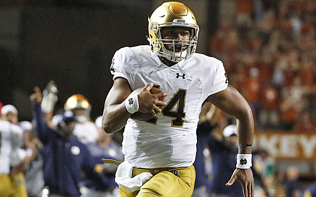 DeShone Kizer scores six -- yes, six -- touchdowns in a loss to Texas. (USATSI)