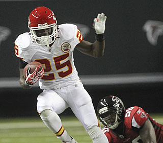 Jamaal Charles makes the most of his opportunities, running for 37 yards on only four carries.  (AP)