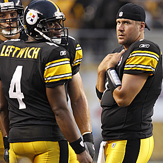Byron Leftwich completes 6 of 10 passes for 43 yards in Ben Roethlisberger's absence. (AP)