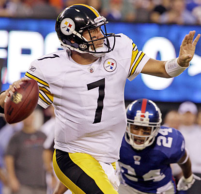 Despite an interception, Ben Roethlisberger shows little rust, completing 6 of 8 attempts for 76 yards.  (AP)