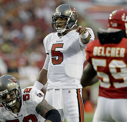 'It's a little minor fracture,' says Josh Freeman, who will miss the rest of the preseason with a thumb injury.  (AP)