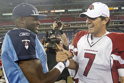 Vince Young and Matt Leinart -- the starting quarterbacks from the '06 BCS title game -- face off again but in limited action. (AP)