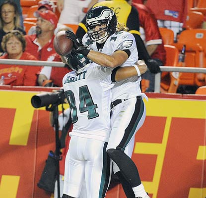 It's a happy moment for rookie Riley Cooper, who hauls in the winning TD pass from Mike Kafka. (US Presswire)