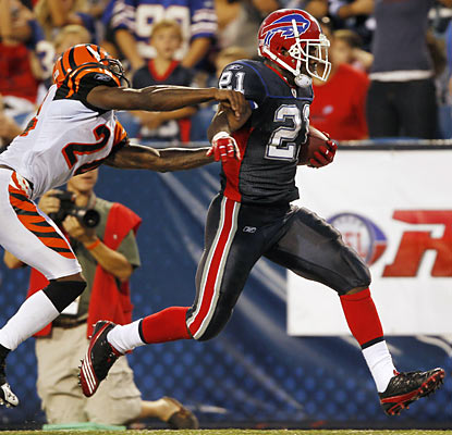 The Bills continue to get positive results out of rookie C.J. Spiller, who torches the Bengals with a pair of touchdown runs.  (AP)