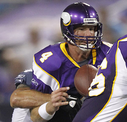 Brett Favre (16 of 26 for 187 yards) turns the ball over three times in his most extensive action in the preseason.  (AP)