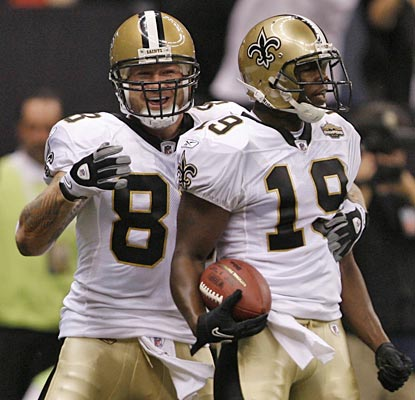 Jeremy Shockey is pleased with Devery Henderson after he catches a 29-yard pass for the first score