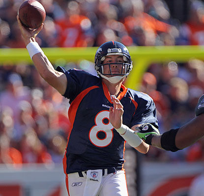 Kyle Orton stands tall, throwing for 307 yards and two scores in the Broncos' first win.  (Getty Images)