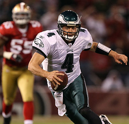 Kevin Kolb plays well in his first start since Week 1, throwing for 253 yards while also making a big play with his feet.  (Getty Images)