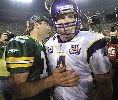 Aaron Rodgers' Packers get the better of Brett Favre's Vikings for the first time in three tries.  (Getty Images)