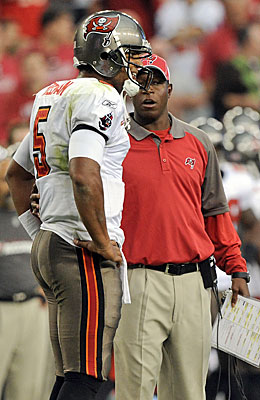 Second-year quarterback Josh Freeman wins for Raheem Morris' Bucs. (Getty Images)