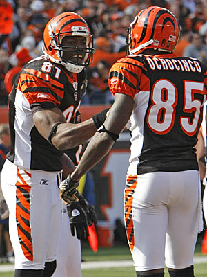 Terrell Owens says if he and pal Chad Ochocinco can produce at similar levels, the Bengals' offense will start to take off. (AP)