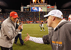 Todd Haley (left) has some choice words for Josh McDaniels after Sunday's game. (AP)