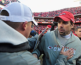 McDaniels and Haley meet and greet after the game. No big thing. (AP)