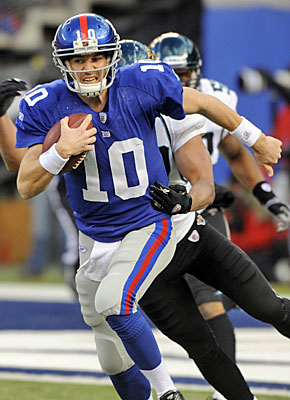 Eli Manning will be the sixth quarterback to start at least 100 consecutive games. (AP)