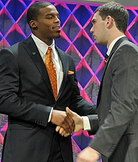 Andrew Luck didn't get the Heisman but was in New York to congratulate Cam Newton. (AP)