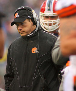 Browns head coach Eric Mangini's future looks grim, thanks to a quarterback who continues to falter. (Getty Images)