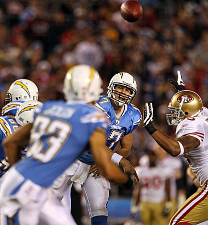 San Diego's Philip Rivers throws for 273 yards and surpasses 4,000 yards passing for the third straight season. (Getty Images)