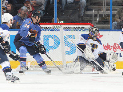 Ty Conklin stops 37 of 39 shots to help give St. Louis the edge over Atlanta.   (Getty Images)