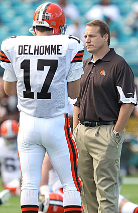 Jake Delhomme's turnover tendencies didn't help settle Eric Mangini's QB problem in Cleveland. (Getty Images)