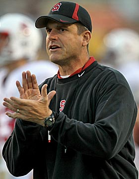 Jim Harbaugh has earned applause for his Stanford turnaround. (Getty Images)