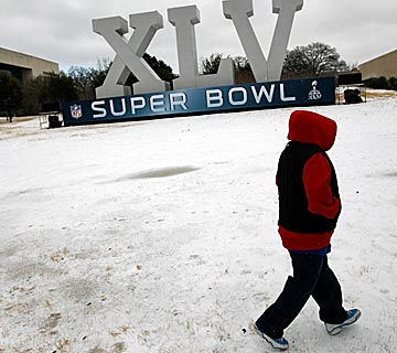 A brutal winter storm was the right backdrop for a bummer Super Bowl week. (Getty Images)