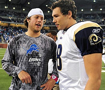 Matt Stafford (left) has struggled to do what Sam Bradford (right) did as a rookie: finish a season. (US Presswire)