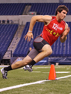 Christian Ponder's running ability is an asset, but he should try to stay in the pocket more. (US Presswire)