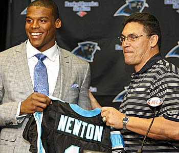 Cam Newton and Ron Rivera became a team at the draft on April 28, for better or worse. (US Presswire)