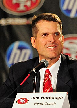 Jim Harbaugh will go against brother John on Thanksgiving. (US Presswire)