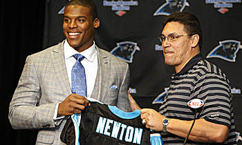 Cam Newton and first-year coach Ron Rivera figure to be at a disadvantage with the lockout. (US Presswire)
