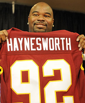 Albert Haynesworth signed his mammoth $100 million deal with the Redskins hours after free agency began in 2009. (Getty Images)