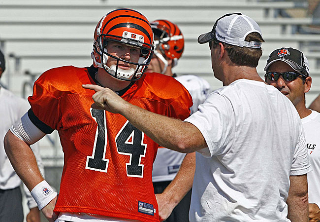 Andy Dalton soaks up instruction from Jay Gruden during training camp. (US Presswire)