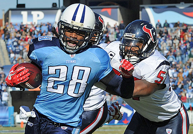 Chris Johnson has led the NFL in rushing for two seasons, but is a no-show in camp. (US Presswire)