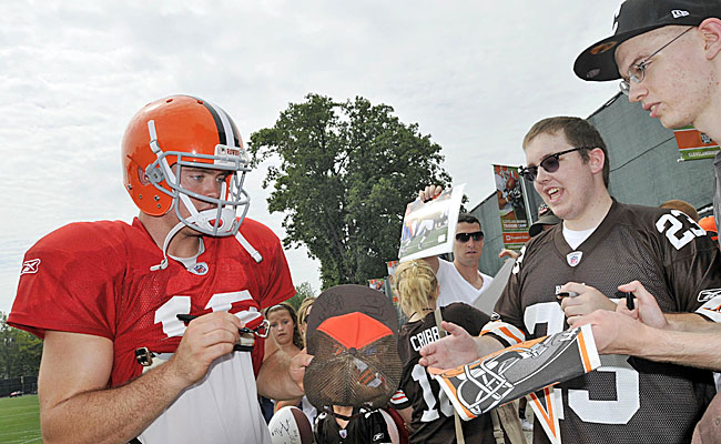 The fans seem to take to Colt McCoy. But can he take the Browns to the the Super Bowl? (US Presswire)