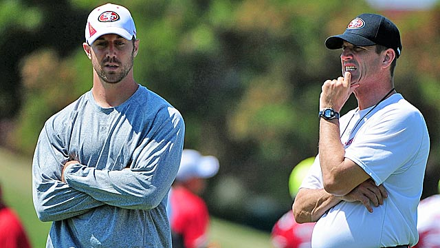 Alex Smith gets a chance to impress new coach Jim Harbaugh with Colin Kaepernick on deck. (US Presswire)