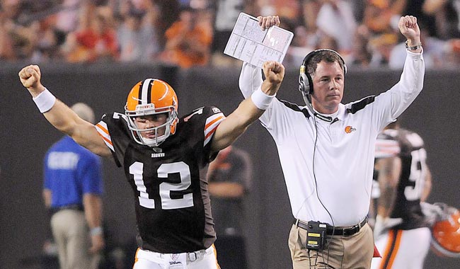 Browns head coach Pat Shurmur says he's  'excited about what we've seen' from his young QB. (US Presswire)