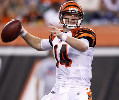 Andy Dalton turns in his best performance of the preseason by far, passing for 130 yards and a touchdown against Carolina. (Getty Images)